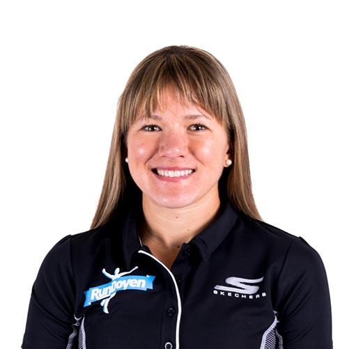 Tara Welling wearing RunDoyen Coach Jacket